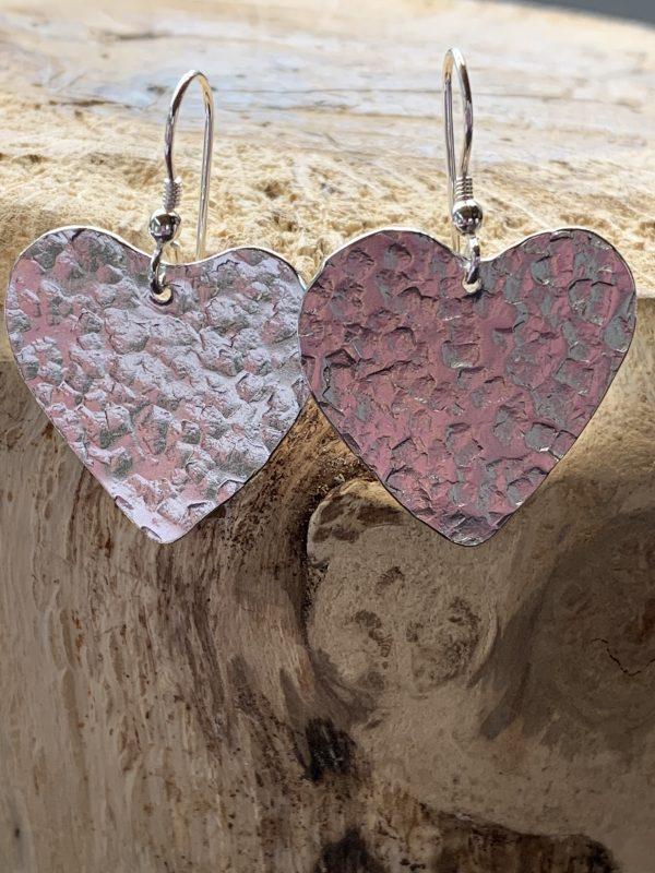 Heart shaped textured drop earrings