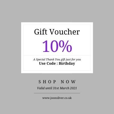Birthday Voucher celebrating Joon Silver being 1 yrs old - 10% off